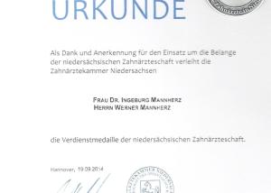ZKN Urkunde Zahnmobil Hannover