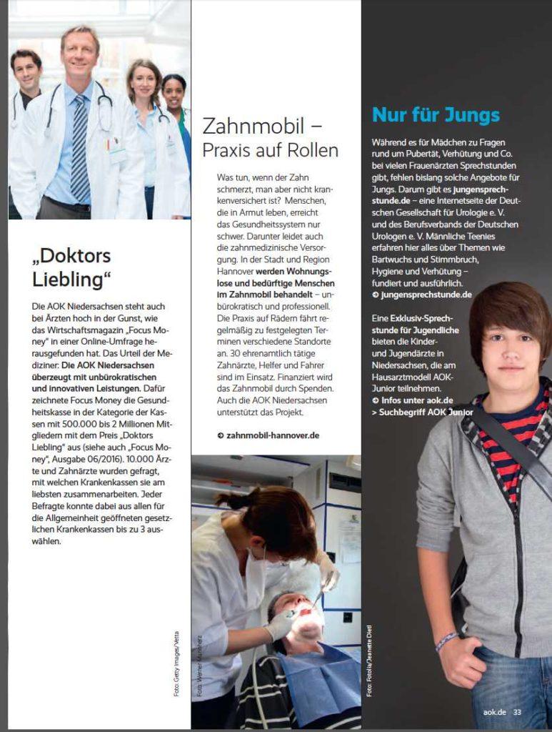 Zahnmobil Hannover im AOK Mitgliedermagazin