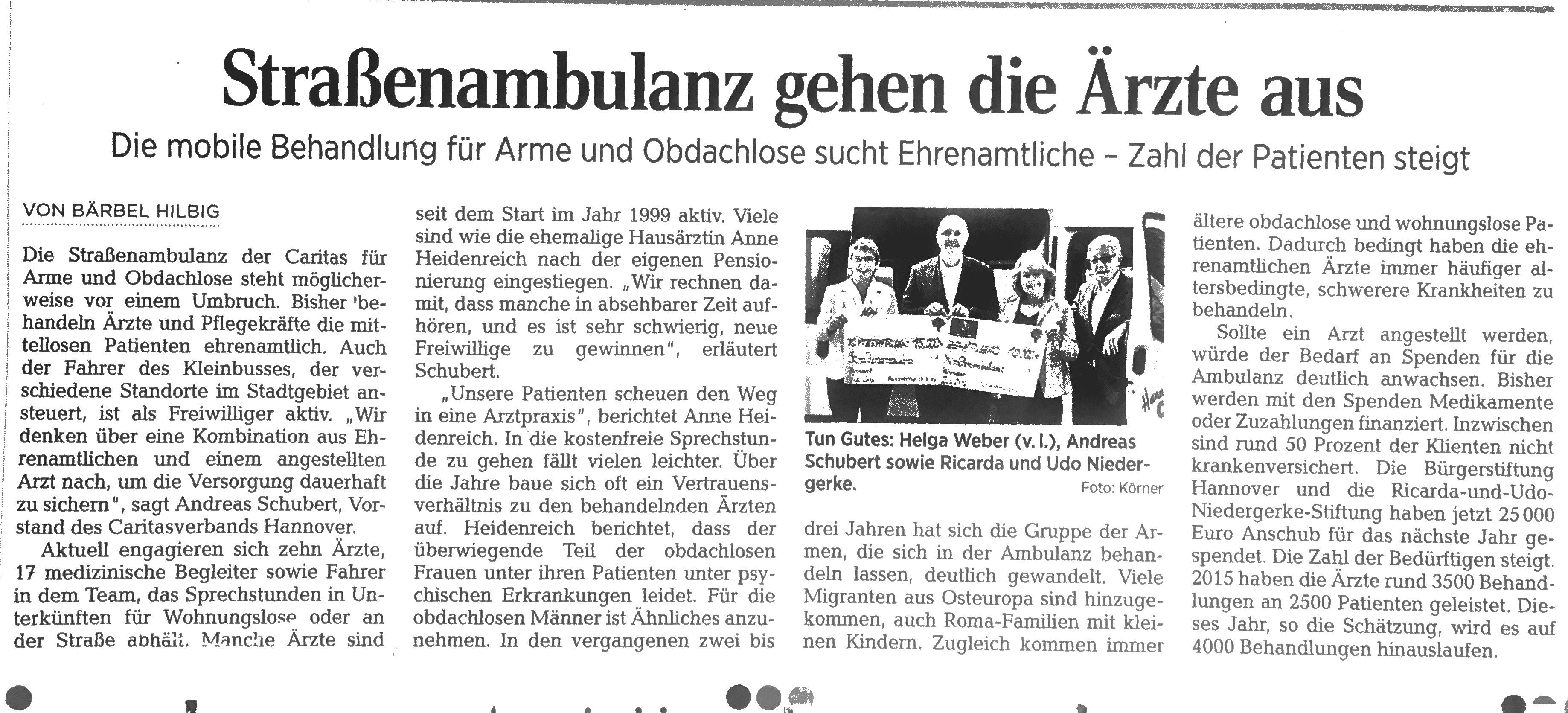 Zeitungsbericht Strassenambulanz Caritas Hannover